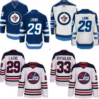 Camisetas De Hockey Logotipo Barato Baratos-Lady and Youth Winnipeg Jets 2016 Heritage Classic 29 Patrik Laine Jersey, 100% bordado bordado logotipos Hockey Jerseys baratos azul blanco