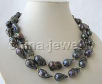 Wholesale Natural Keshi Pearls - Best Buy Pearl Jewelry stunning 88cm 25mm natural black Reborn Keshi baroque pearls necklace