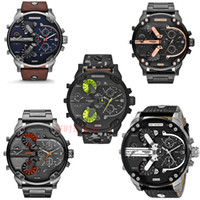 Wholesale dresses time - DZ Big dial luxury watches men's brand quartz watch man Multi-time zone leather watch casual fashion dress watches male military wristwatch
