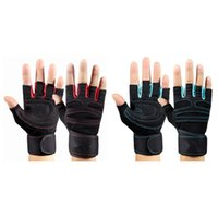 Wholesale Men Dumbbell - Dumbbell Wrist Strap Non-slip Unisex Equipment Strength Training Half Finger Breathable Sports Gloves Fitness Gloves 2 Colors 2524004