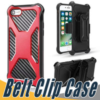 Wholesale Shockproof Case Clip - For Sumsung S8 Plus Hybrid Armor Dual Layer Case Carbon Fiber Shockproof Tough Protective Cover with Belt Clip For iPhone 8 7 6 6S Plus