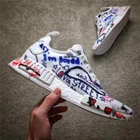 Wholesale Graffiti Box - NMD X Vetements White Running Shoes Real Boost Jiont Limited Shoe Graffiti Sports Shoes Women Men Running Shoes Original Quality With Box
