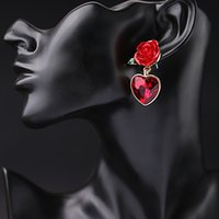 Wholesale simple earings - Red Heart Rose Flower Drop Earrings Fashion Women Jewelry Accessories Sweet Simple Crystal Dangle Chandelier Earings Luxury Pendientes
