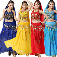 Wholesale Belly Dancing Outfits - 4pcs Set Performance Adult Belly Dance Costume Sets Bollywood Gypsy Costumes Women Belly Dance Dress India Egypt Dancewear Outfits