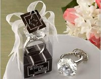 Wholesale Wedding Ring Souvenirs - Free shipping 10 pcs Diamond ring shape keychain Key accessories home party Favors Wedding Gifts For Guests wedding souvenirs