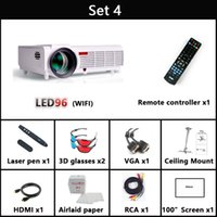 Wholesale Smart Tv Lcd 3d - Wholesale-5500 lumen 1920x1080 3d home theater projetor video proyector beamer smart Android 4.4 lcd tv led projector full hd accessories
