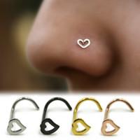 burun pimleri toptan satış-Gül Altın Gümüş Kalp Burun Çiviler SHAPES Pins Yüzükler Bayan Mücevherat Takı