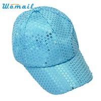 Wholesale Wholesale Women Bling Caps - Wholesale- Womail New Fashion Bling Bling Sequins Baseball Cap Men Women Sun hats Sep4 Drop Shipping
