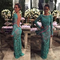 Wholesale Girls Lace Fitted Dress - Latest 2017 Lace Teal Dress Prom Beateau Neck Illusion Back Long Sleeves Fitted Sweep Train Sexy Girl Party Dress