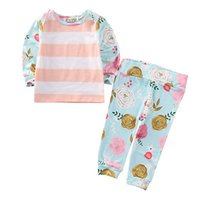 Wholesale Toddler Infant Baby Girls Outfits Clothes Casual T shirt Floral Pants Set