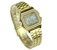 Wholesale Metal Free Watches - F-91W Men LED watch Ultra-thin Gold Silver Wristband Led Sports Watches Multifunction Metal Electronic F-91 Wristwatch DHL free shipping