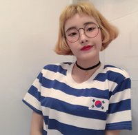Wholesale Korean Flag Shirts - Wholesale- Korean Harajuku stripes flag patch loose large size short sleeve T-shirt