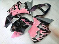 Plastic Fairings 636 ZX 6r 2001 Fairing Kits Ninja 02 Pink Black Flame Full Body For Kawasaki ZX6r 2002 2000