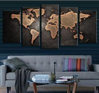 Wholesale Home Oil Sticker - Fine Art Old World Map 1set of 5pcs Canvas Painting Modern Abstract Wall Art Decor Oil Picture on Canvas for Home Living Room Stickers