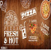 Wholesale Custom Pizza - Free Shipping 3D stereo custom Western style pizza theme restaurant wallpaper cake coffee leisure bar wallpaper mural