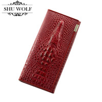 Wholesale Leather Split Alligator - New Women Split Leather Wallet Fashion 3D Alligator Pattern Brand Design Casual Purse Women's Wallets Coin Department # 397