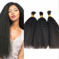 Wholesale wholesaler for braiding hair online - Mongolian Kinky straight bulk hair for braiding Unprocessed human hair extensions Yaki Human hair bulk for braids G EASY