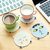 Wholesale Desk Drinking Coffee - Wholesale- 4pcs Wooden Non-slip Cute Cat Placemat Cup Mat Pads Coffee Mug Drink Coasters Dining Table Placemats Desk Kitchen Accessories