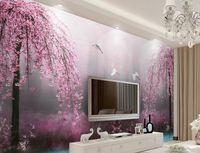 Wholesale Lake Mural - Custom 3d wallpaper murals Pink swan lake scenery 3d stereoscopic wallpaper living room modern wallpaper