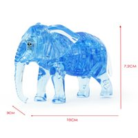 Wholesale 3d Crystal Puzzles For Kids - Elephant puzzle 41PCS 3D crystal puzzles animal assembled model diy birthday gift toys for kids