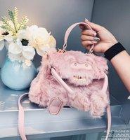 Wholesale Handbag Brand Pink - Factory wholesale bag brand new winter fur Handbag Pink cute funny woman Kylie personality single shoulder bag women Plush winter