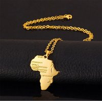 Nouvelle mode Africa Gold Unisex Femmes Hommes African Map Pendentif Collier Hip Hop Jewelry 50cm Box Chain