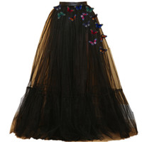 falda de la señora del nuevo diseño al por mayor-2017 Nuevo Diseño de Mariposa Señora Prom Party Tulle Tutu Princesa Negro falda larga de las mujeres