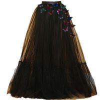новый дизайн юбка леди оптовых-2017 новый дизайн бабочка Леди выпускного вечера партии тюль пачка Принцесса черные женщины длинная юбка
