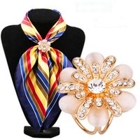 Wholesale scarf ring buckle - Wholesale- New Fashion brand Flower Lapel Pins Scarf Buckle Wedding Brooch Chic Lady Scarf Ring Clip Buckle Jewelry Scarves Buckle SK-004