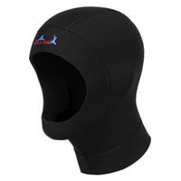 Wholesale Scuba Diver - Wholesale Dropshipping Hot 3mm Neoprene Scuba Diving Hat Scuba Diving Wetsuit Hood Divers Cap Black Thermal