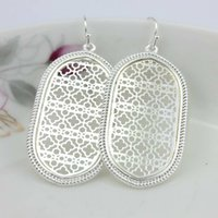 Wholesale Filigree Dangle Earrings - Christmas Gift Boutique Filigree Oval Earrings Costume Two Tone Filigree Earrings for Women 2017 Fashion Statement Jewelry Dangle Earrings