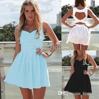 Оптовое-новое 2015 Summer Sexy Heart Open Cut Out Back Backless Cocktail Party Mini Dress White / Light Blue / Black