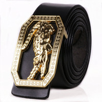 Wholesale Carved Leather Belts - 2017 Newest Men's Genuine Leather Belt carving crocodile alligator cayman Large copper buckle man's cow High Brand Luxury Men Belt