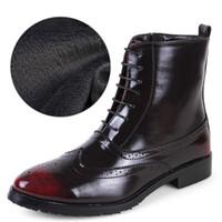 Wholesale Brogue Boots - Wholesale- Winter Casual Shoes Men Plush Cotton Short Boots Ankle Boots For Men High Tops Brogues Bullock Shoes Flats Patent Leather