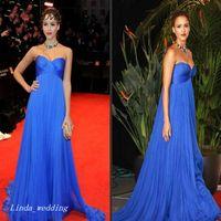 Wholesale Jessica Alba Red Carpet - 2017 Royal Blue Jessica Alba Evening Dress Elegant Pregnant Long Formal Special Occasion Dress Prom Party Gown Plus Size vestidos de festa