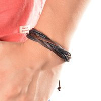 Atacado - Surfer Tribal Wrap Multilayer Leather Cuff Pulseira para Mulheres Man Leather Bracelet Moda Homens Mulheres Fine Jewelry 1PC