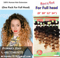 Wholesale Short Curly Hair Piece - 8pcs lot brazilian Human hair tangle free ombre color jerry kinky natural curly hair bundles loose wave bug short hair extension uk usa