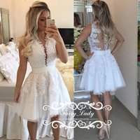 Wholesale Sheer Beach Gowns - Romantic 2017 Short Sheer Lace Beach Wedding Dresses 3D-Floral Appliques Pearls Transparent Back A Line Bridal Dress Party Gowns