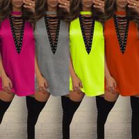 Wholesale Orange Plaid Shirt Women - 2017 Spring Half Sleeve Lace Up Plaid Shirt Dress Women Casual Turn-down Collar Bandage Plunge V Neck Office Dress Mini vestidos
