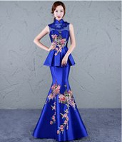 Wholesale Pictures Chinese Dresses - New Evening Dress Chinese Style In Cheongsam Mermaid High Collar Lace-up Back Sweep Train Sheath Vintage Elegant Party Peplum Prom Dress