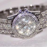 Wholesale Designer Gems - 2017 Hot Famous Designer Women Watch Luxury watches Gold Silver Metal Fashion Dress Ladies Rhinestone Diamond Wristwatches Free Shipping