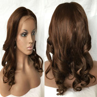 Wholesale Loose Wavy Remy Hairstyles - Brazilian Loose Wave Lace Front Wigs #4 Brown Virgin Remy Wet And Wavy Full Lace Human Hair Wigs With Baby Hair Black Brown