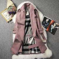 Wholesale Double Breasted Women Windbreaker - Free shipping new high-end women's wholesale double-breasted long section of the knee windbreaker female Korean version of the belt waist lo