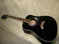 Wholesale Oem Acoustic Guitars - Black Electric Acoustic Guitar with EQ Birds High Quality China Guitars OEM HOT