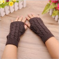 Wholesale The new ms han edition twist wristbands half winter bud silk knitting warm fingerless gloves