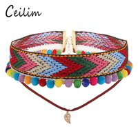 2017 Fashion Bohemian Fancy Embroidery Choker Colar Para Mulheres Ethnic Colorful balls Statement Chokers With Leaf Charm Pendant presente exclusivo