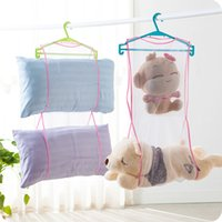Wholesale Laundry Net Fabric - Hanging multipurpose storage bag clothes clip Creative pillow cushion bag shelf drying laundry drying nets drying pillow rack with multiple