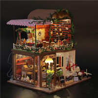 diy toys handmade wooden house furniture miniature doll house european coffee shop diy handmade dollhouse kit