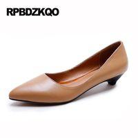 Wholesale Low Heel Formal Shoes Women - Brown Size 4 34 Black Formal Pointed Toe Court Kitten 2017 Genuine Leather Elegant Shoes Women Office Pumps Low High Heels