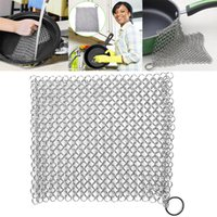 Wholesale skillet kitchen tool resale online - 8 inch Cast Iron Cleaner Stainless Steel L Chainmail Scrubber Cleaner Pan Ovens Scraper Cast Iron Grill Skillet Kitchen Tools WX9